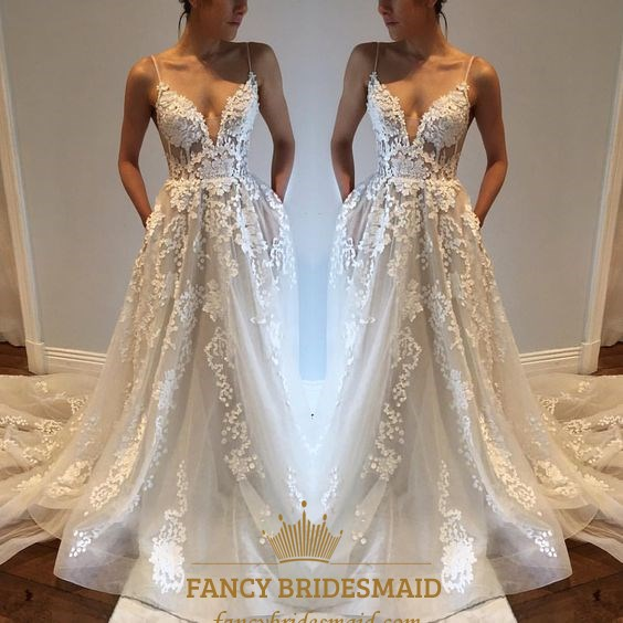 White Spaghetti Strap Sheer Lace Overlay Open Back Wedding