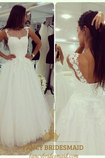 White Lace Top Open Back Tulle Ball Gown Wedding Dress With Straps Fancy Bridesmaid Dresses,Outdoor Wedding Fall Wedding Guest Dresses 2020