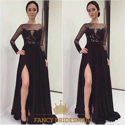 Black Sheer Lace Applique Long Sleeve Prom Dress With Side Cutout ...