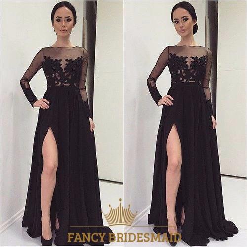 Long Chiffon Prom Dress With Side Cutouts | Fancy Bridesmaid Dresses