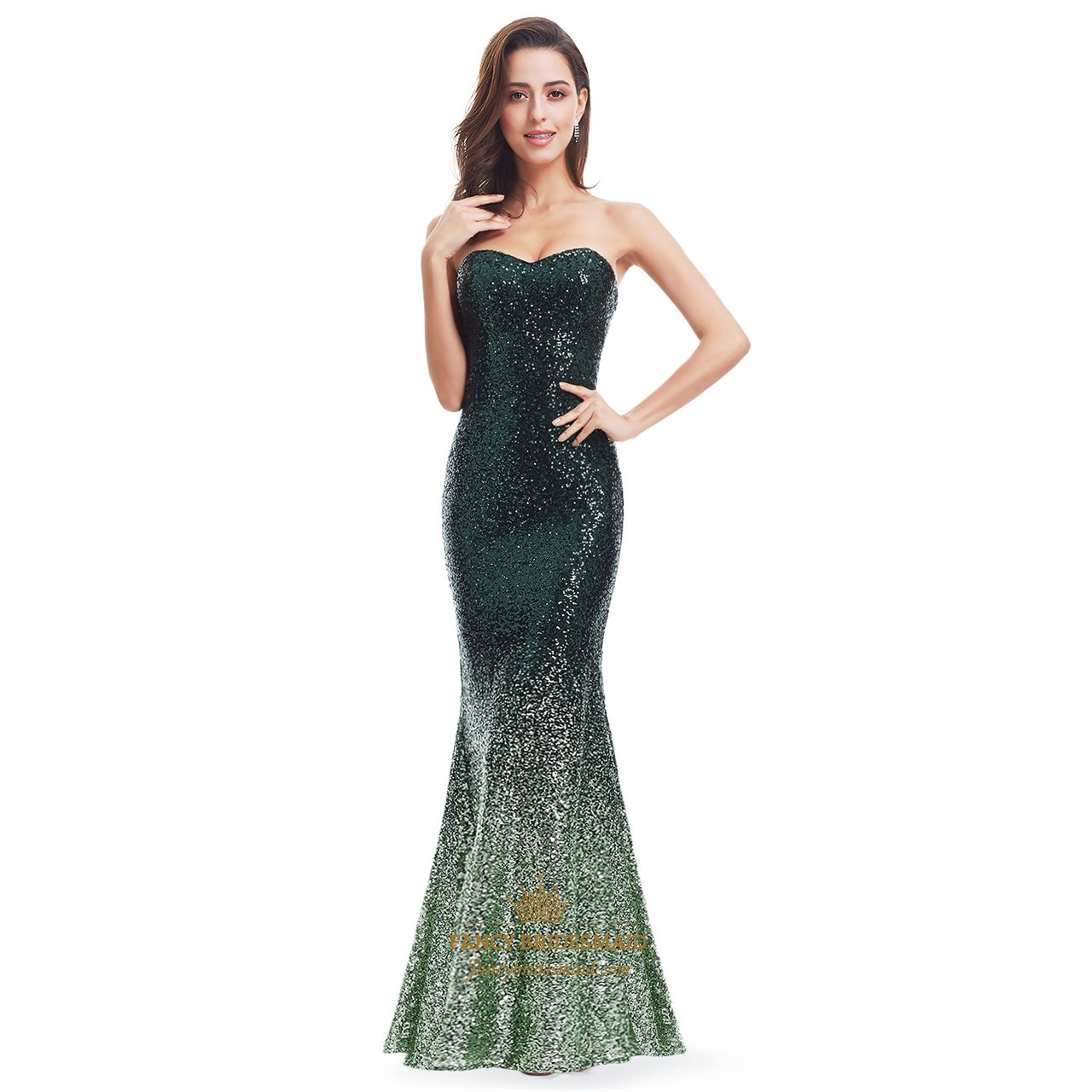 Green strapless sequin mermaid floor length evening dress for Floor length dresses