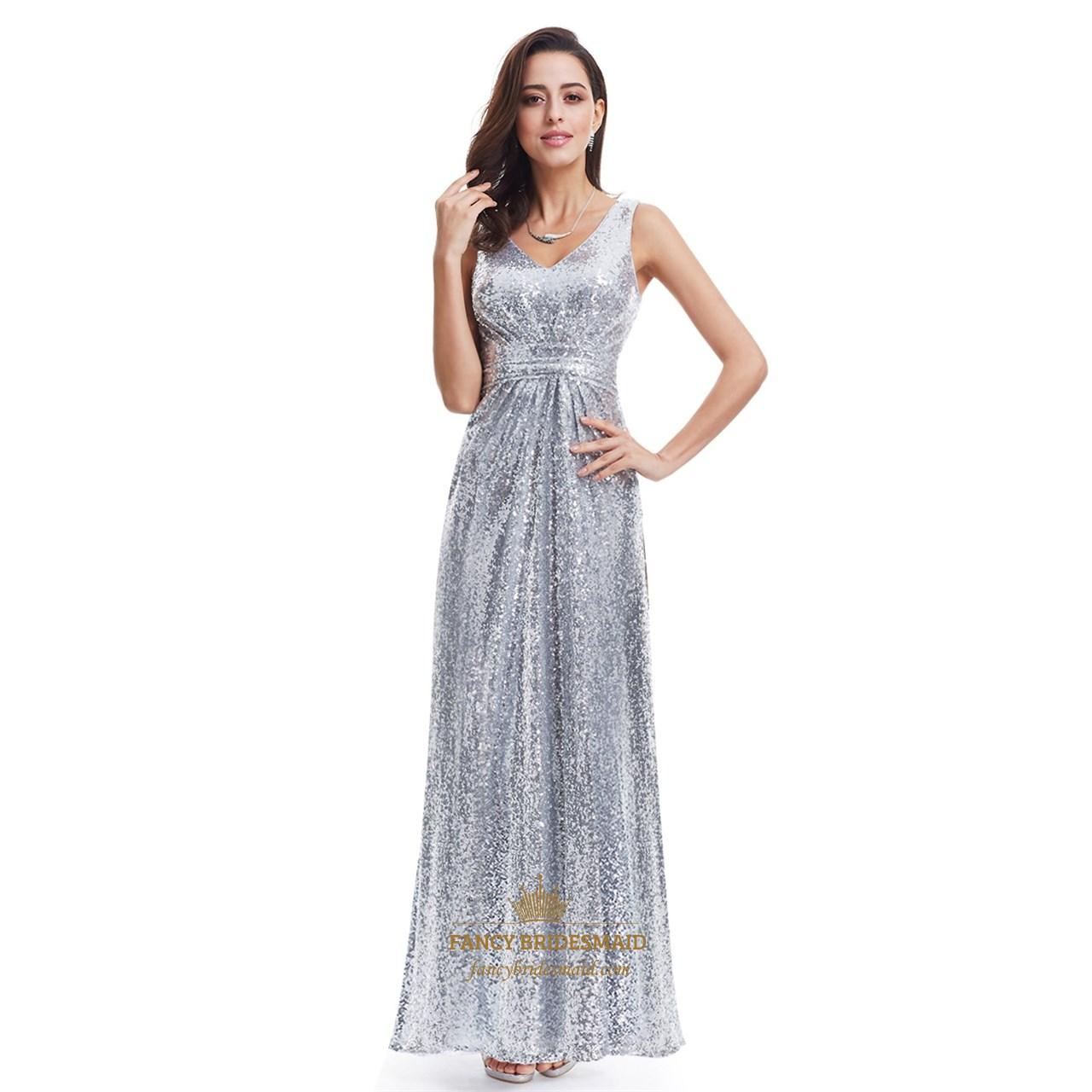 Silver v neck ruched bodice sequin floor length formal for Floor length gowns