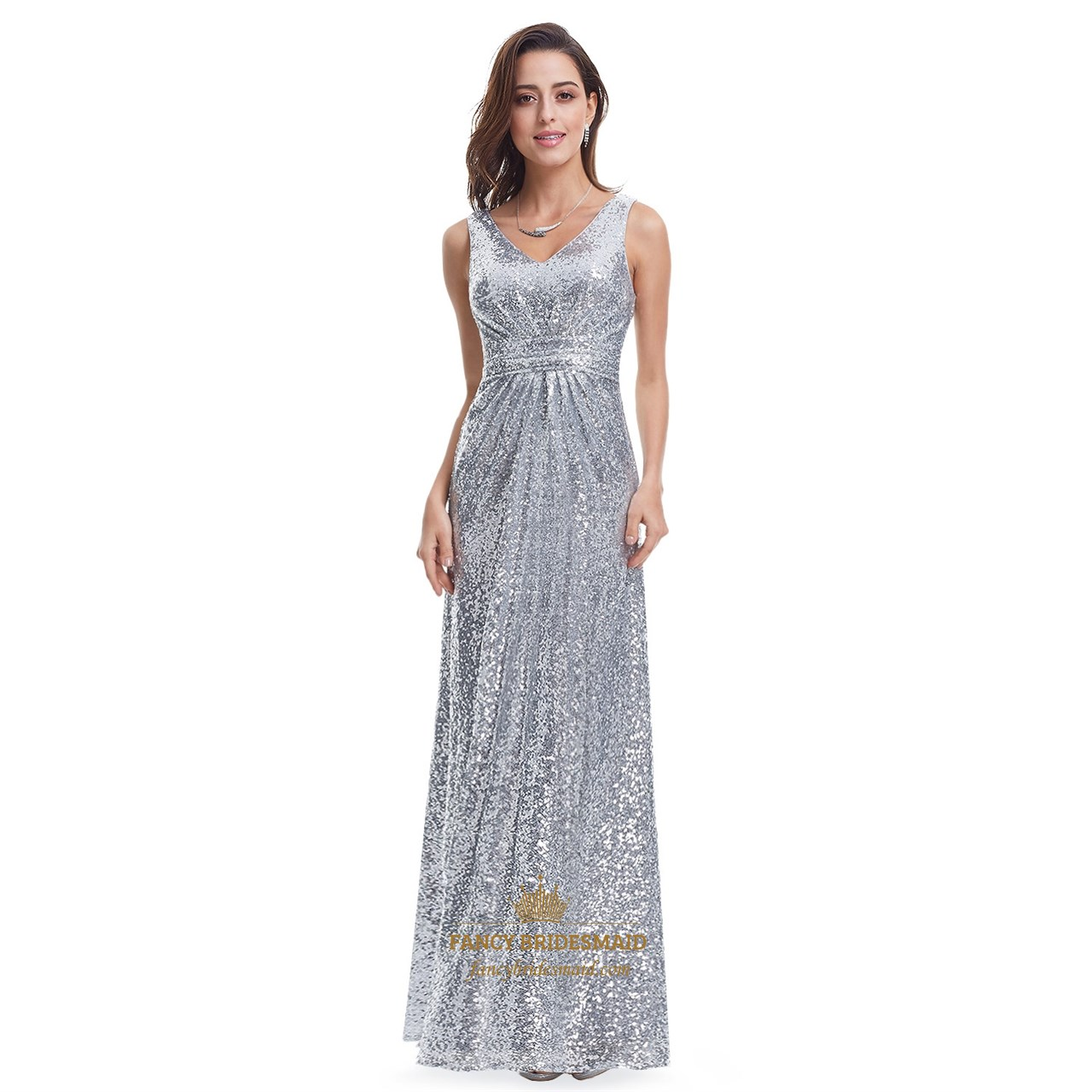 Silver v neck ruched bodice sequin floor length formal for Floor length dresses