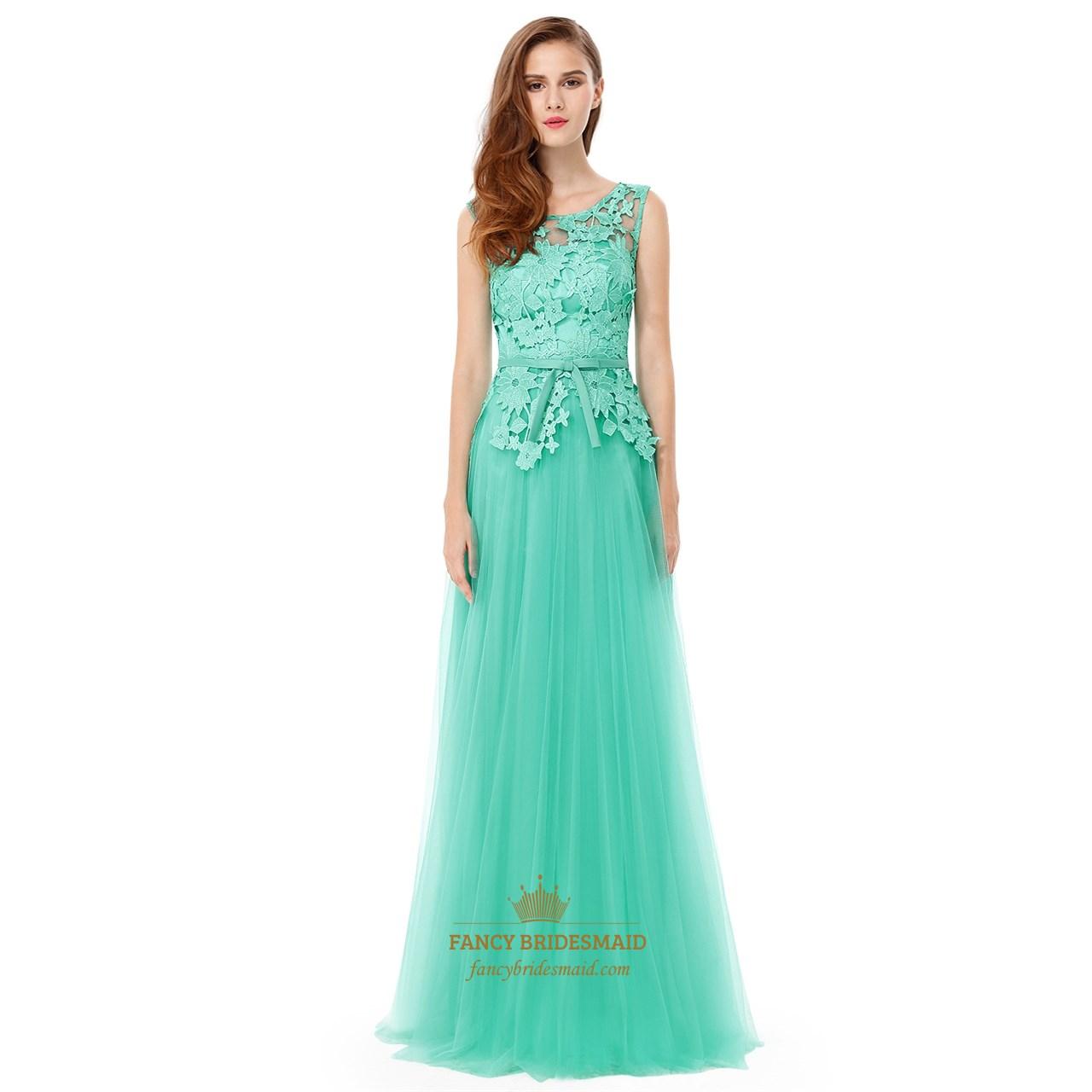 Mint Green Lace Top Chiffon Backless Long Bridesmaid Dress SKU -FC848 d8082f38d