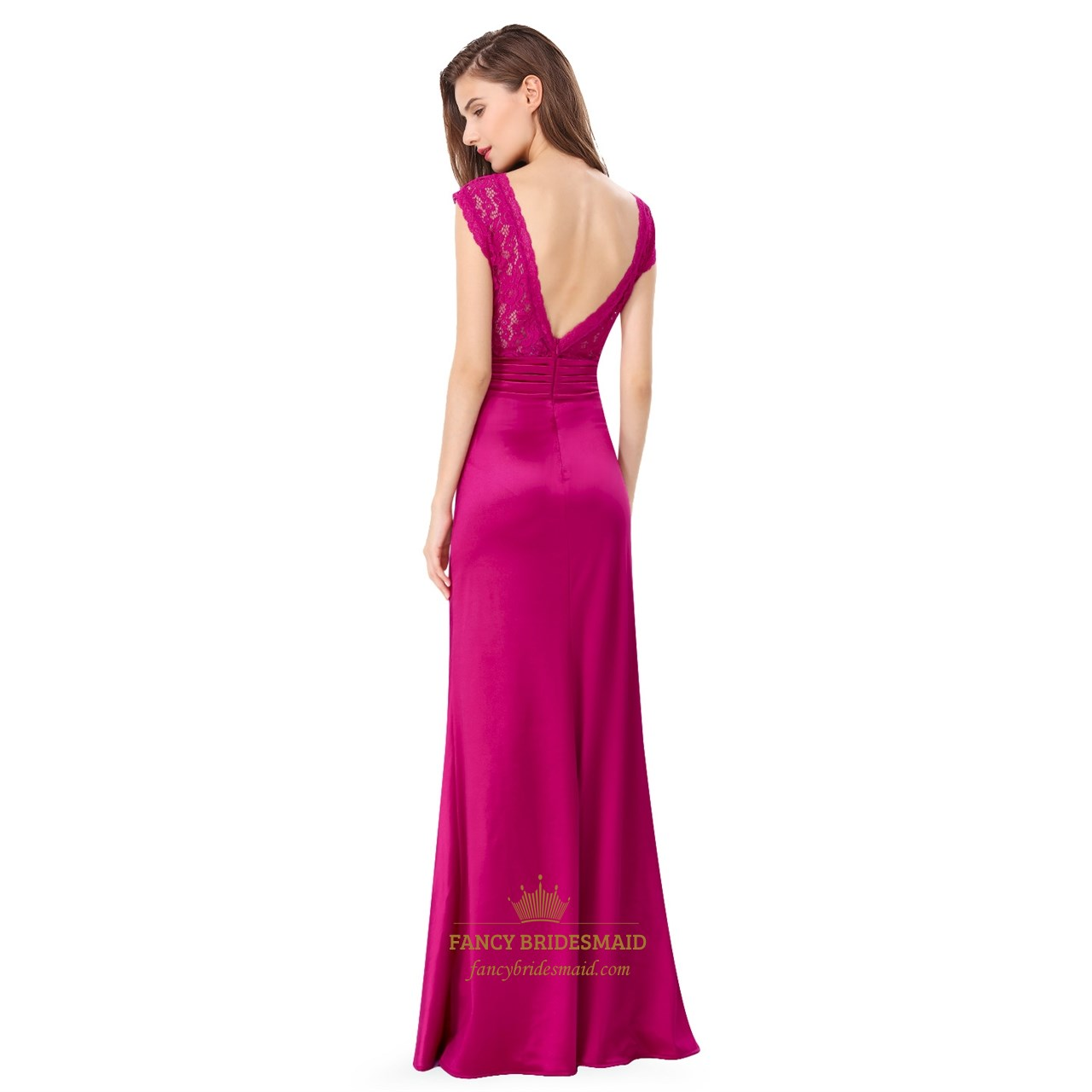 Hot Pink V Neck Cap Sleeve Ruched Lace Bodice Long Formal