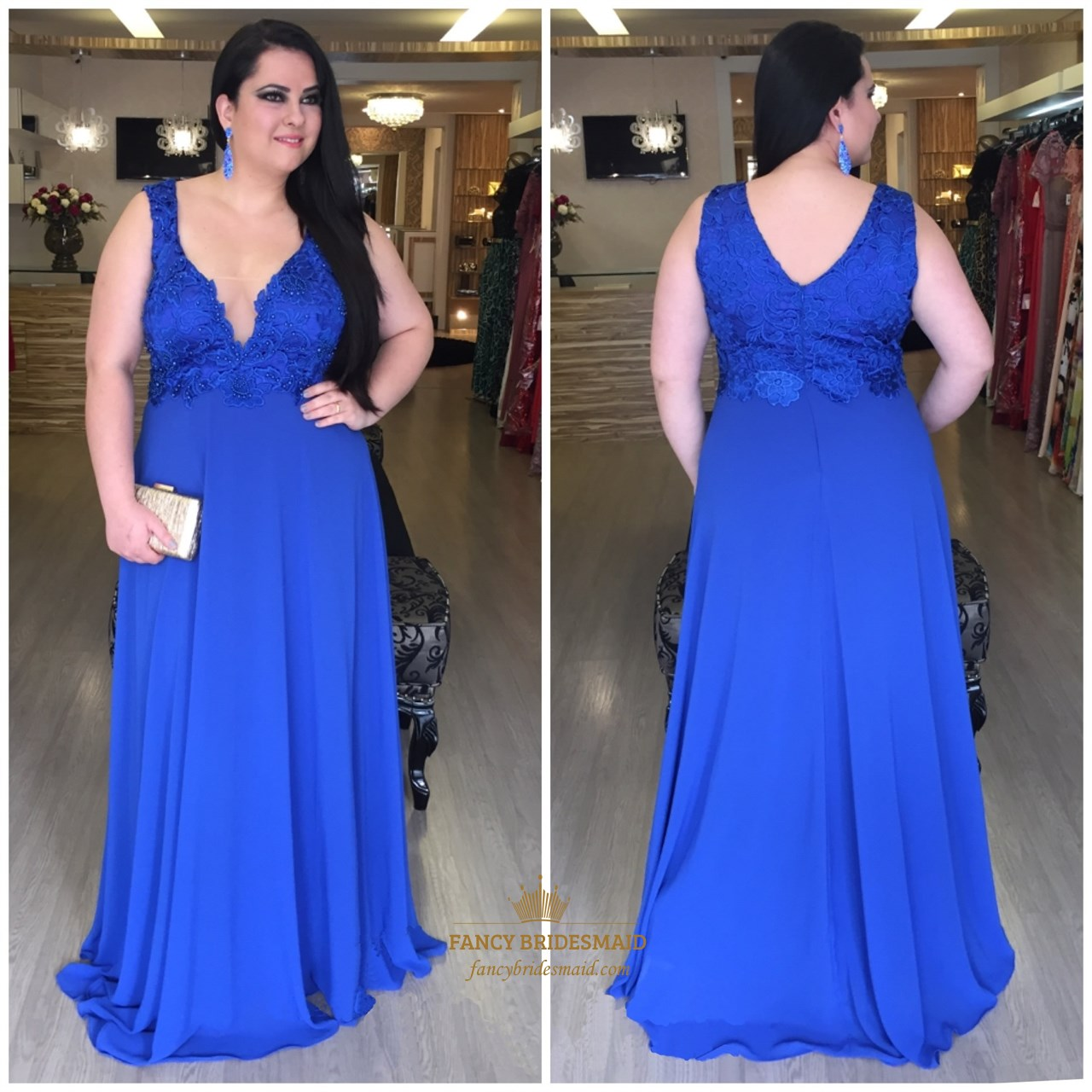 9e0b27753fc30 Royal Blue V Neck Lace Embellished Bodice Chiffon Long Prom Dress SKU -FC854