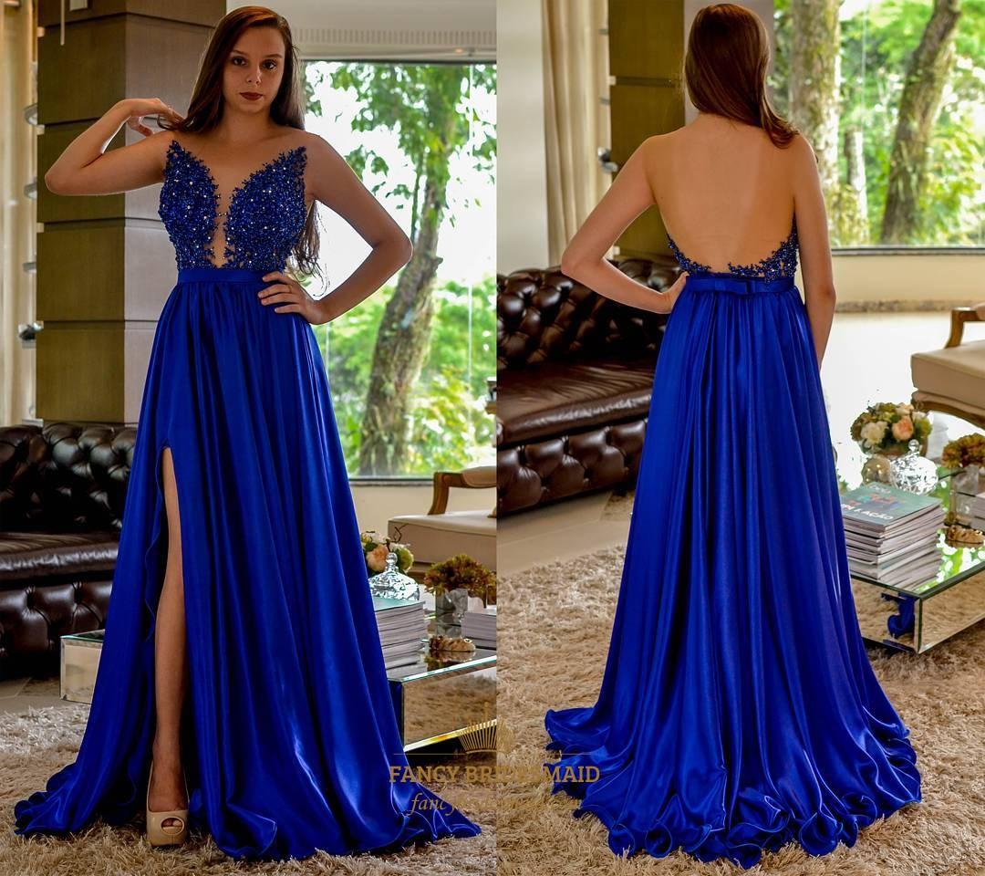 Royal Blue Beaded Embellished Bodice Prom Dress With Side