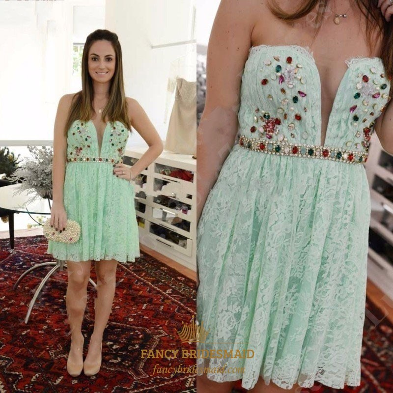 bf94b5f4e89 Mint Green Strapless Sweetheart Beaded Lace Short Cocktail Dress SKU -FC912