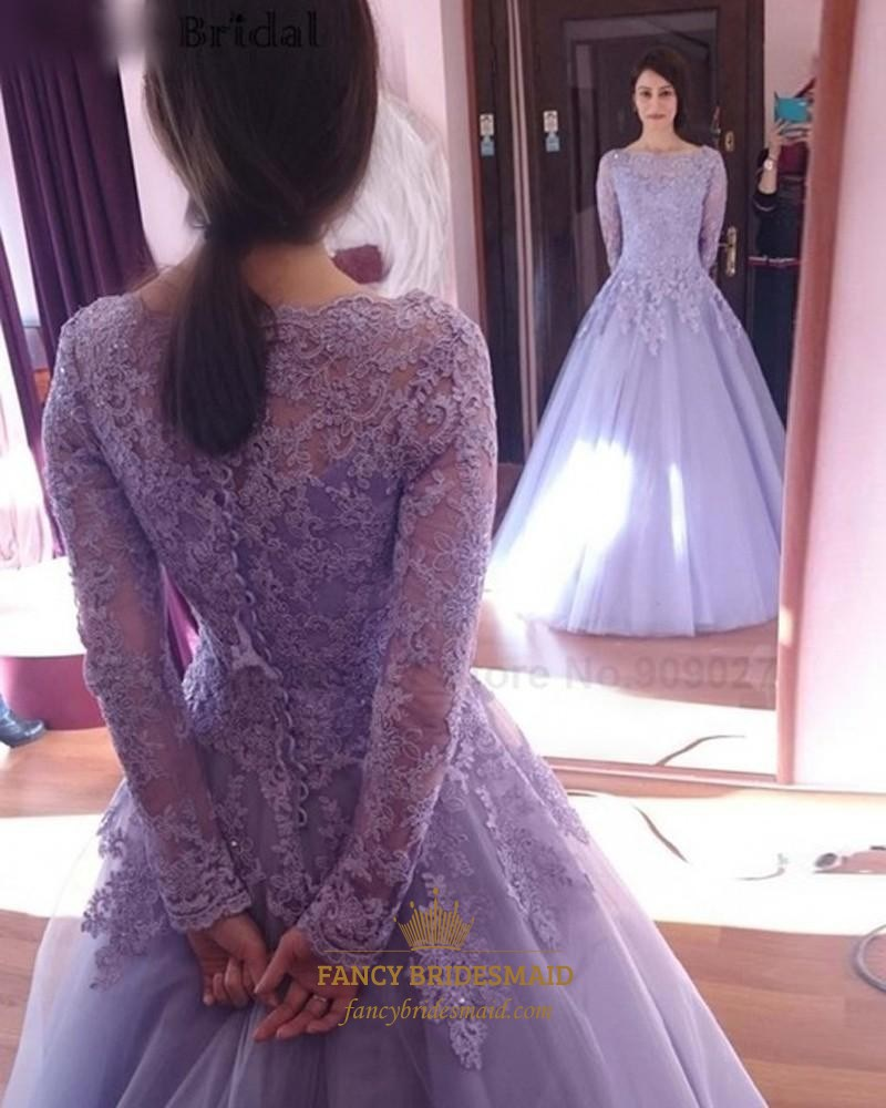 Lavender Lace Applique Top Long Sleeve Tulle Ball Gown