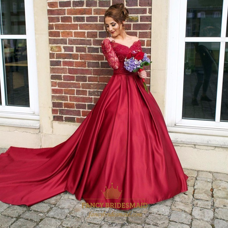 3e82cec2be331 Burgundy V Neck Long Sleeve Lace Top Ball Gown Prom Dress With Train SKU  -FC995