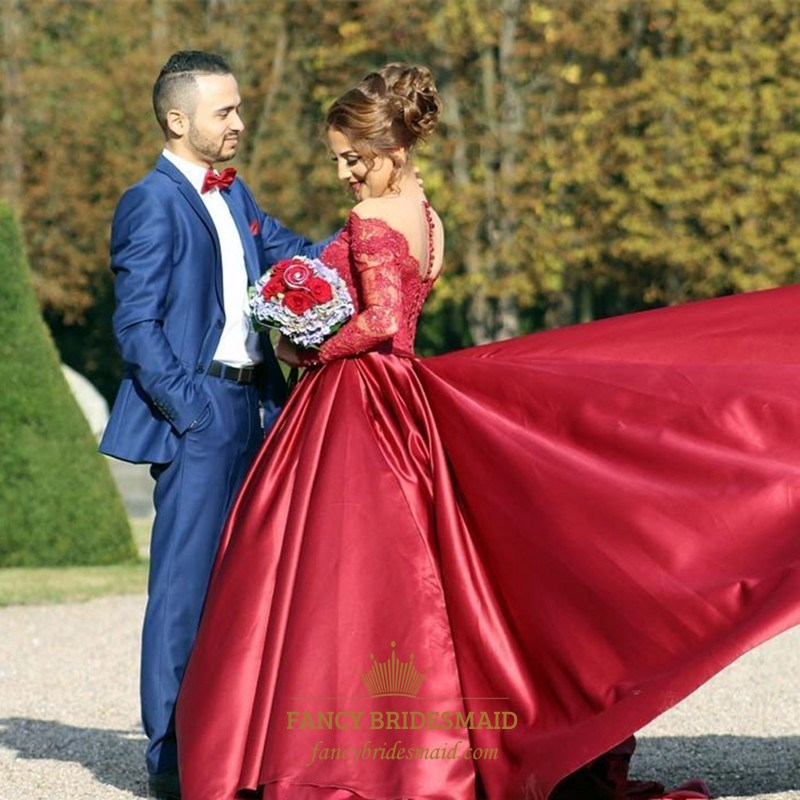 08c1e551a01a7 Burgundy V Neck Long Sleeve Lace Top Ball Gown Prom Dress With Train ...