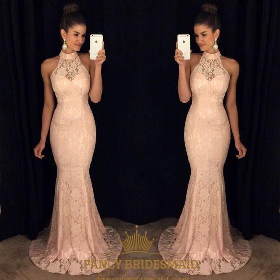 Blush Pink High Neck Sheer Lace Mermaid Full Length Formal Dress