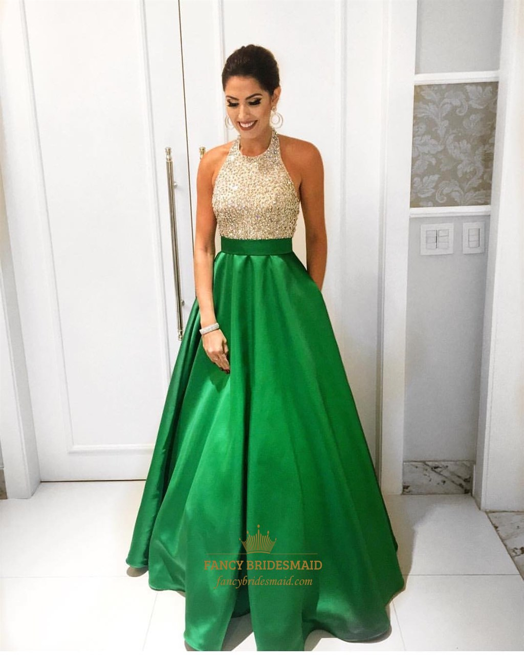 Emerald Green Beaded Bodice Halter Floor Length Ball Gown Formal ...