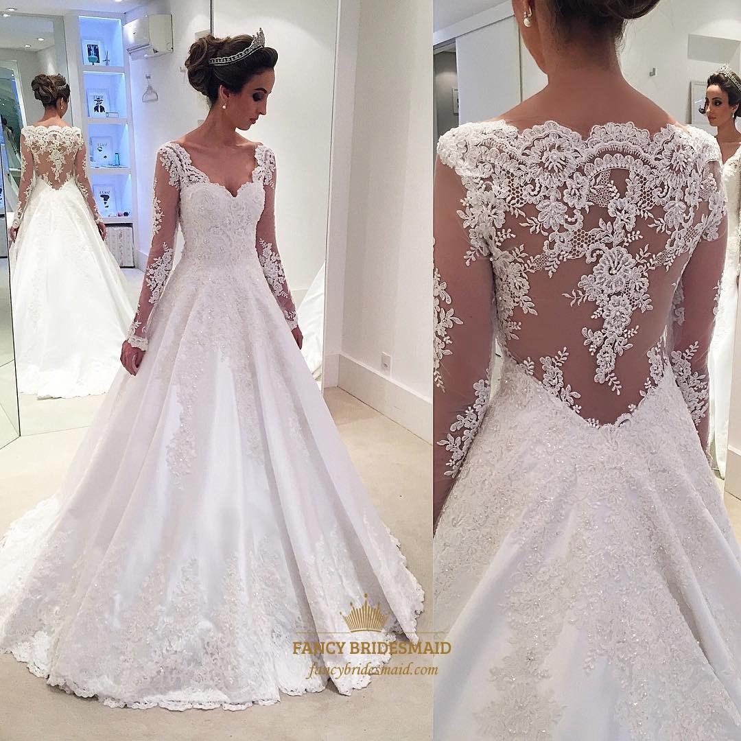 Sheer Lace Applique Long Sleeve Wedding Dress V Neck