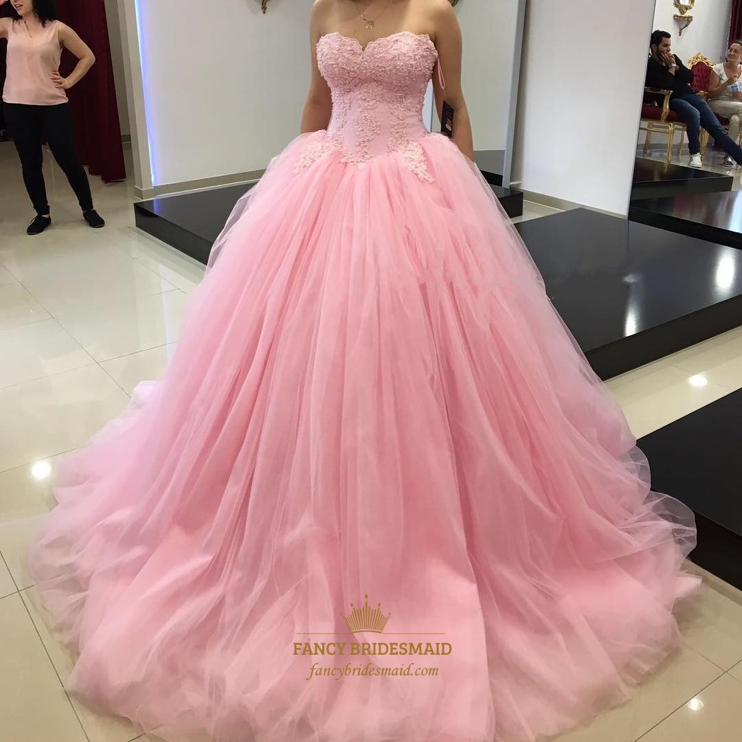 pink strapless lace embellished bodice tulle ball gown