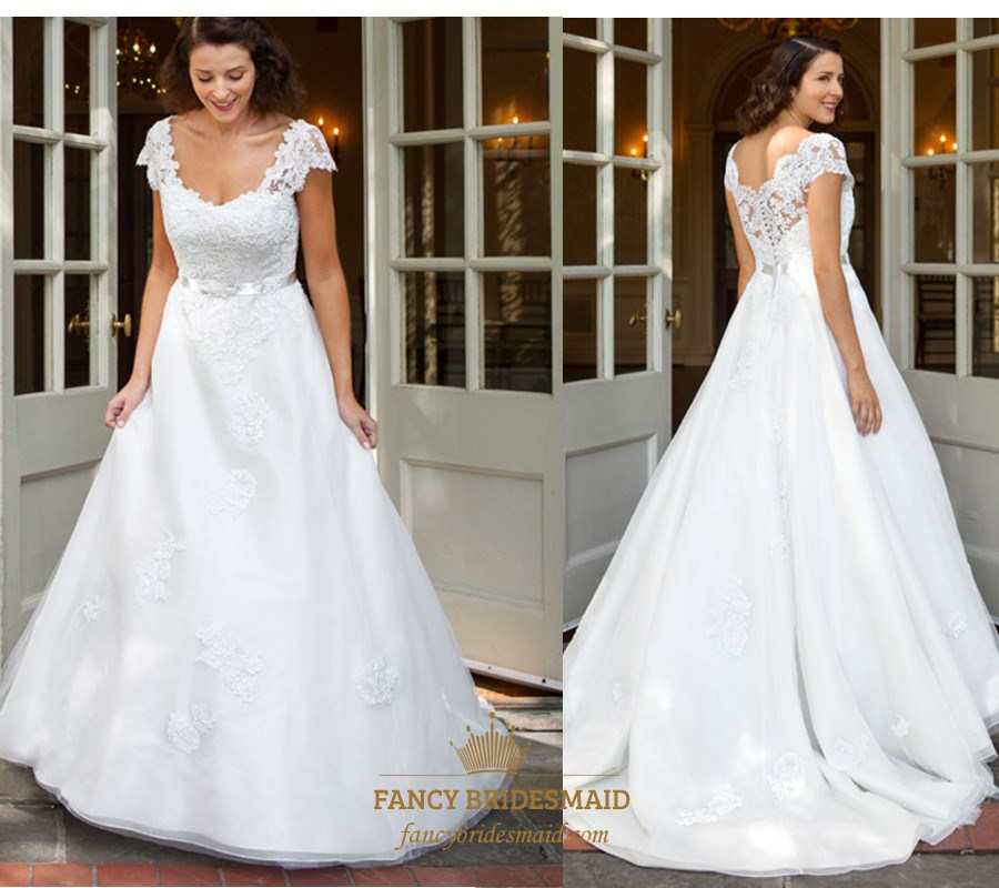 White Lace Embellished Ball Gown Wedding Dress With Cap Sleeves ...