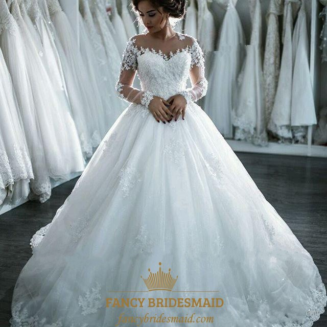 White Sheer Lace Embellished Long Sleeve Ball Gown Wedding Dress Fancy Bridesmaid Dresses