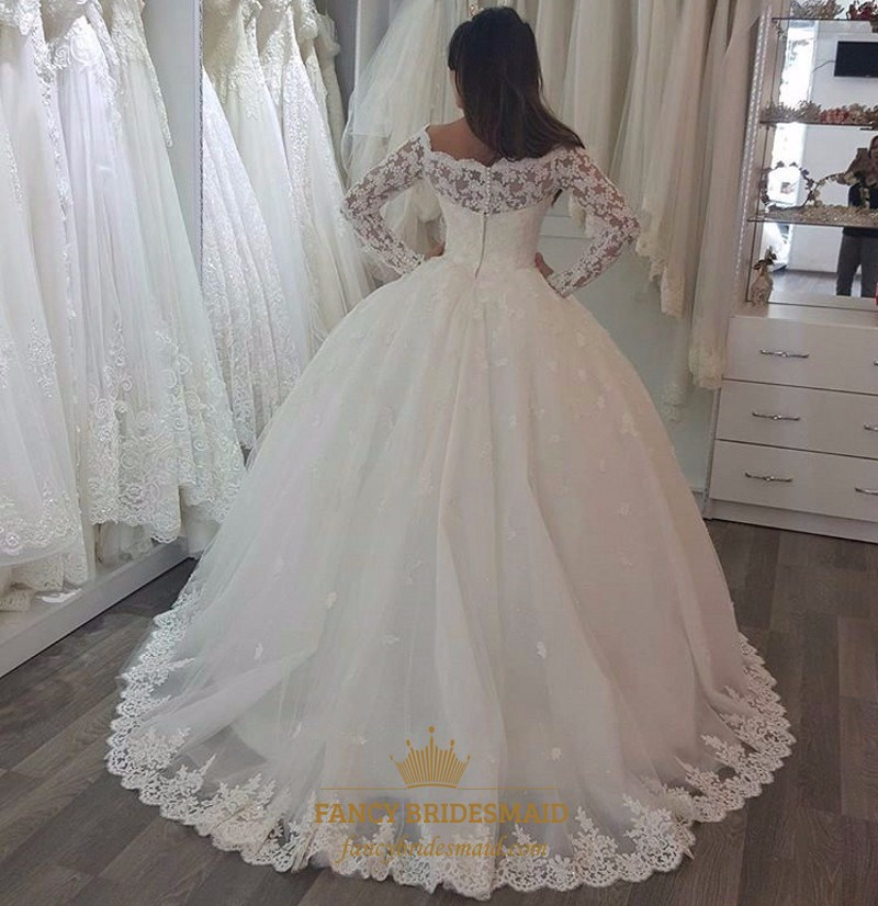 Ivory Lace Bodice Ball Gown Wedding Dress With Sheer Long: Ivory Lace Embellished Long Sleeve Ball Gown Wedding Dress