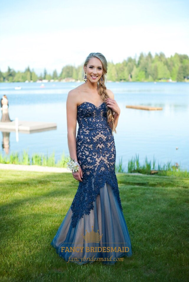 Navy Blue Strapless Lace Embellished Mermaid Long Formal Dress