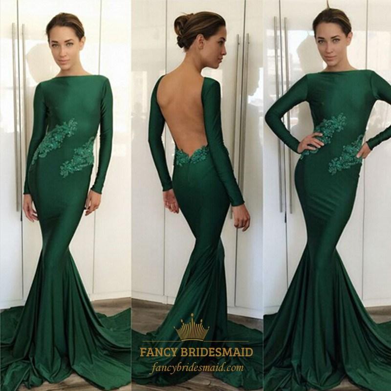 Emerald Green Lace Applique Long Sleeve Open Back Formal Dress