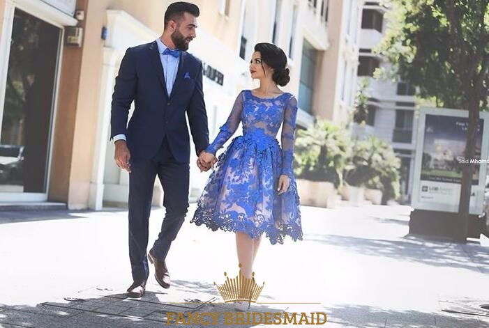 Royal Blue Sheer Lace Applique Long Sleeve Short Formal Dress