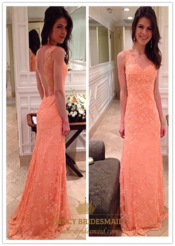 Coral Lace Embellished Open Back Floor Length Formal Dress Fancy