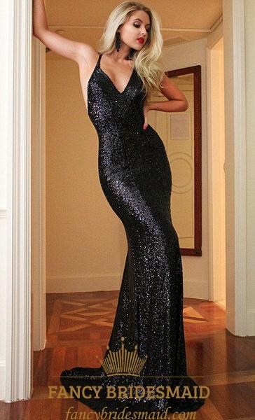 Black V Neck Spaghetti Strap Backless Sequin Mermaid Long Prom Dress ...