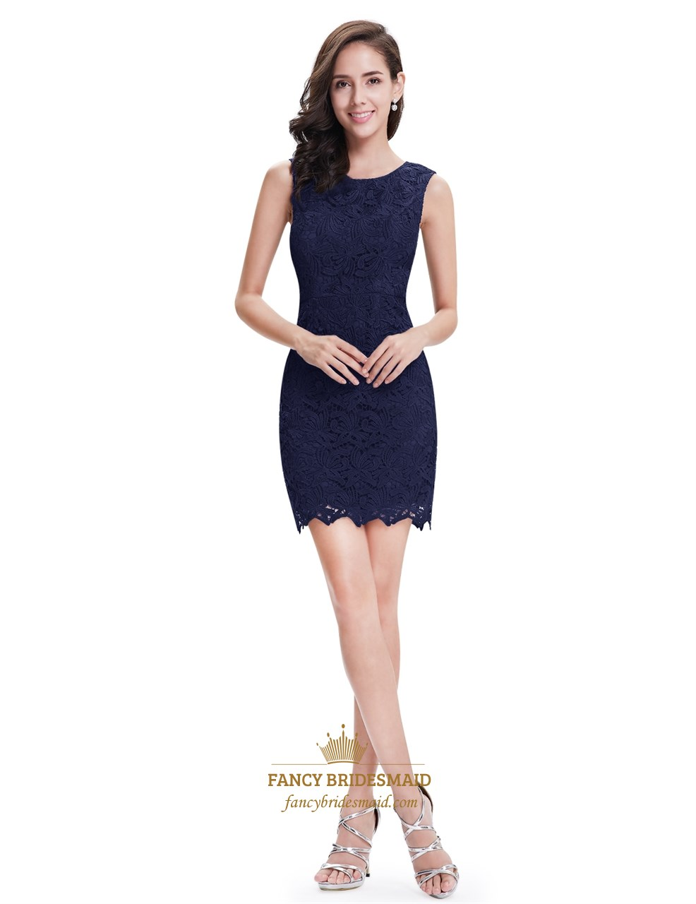 Elegant Simple Navy Blue Sleeveless Short Sheath Lace Cocktail Dress ...