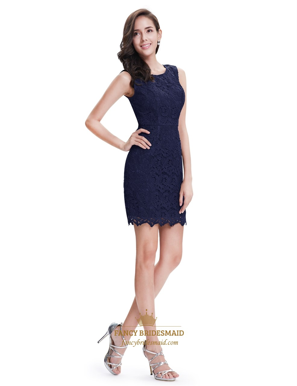 8a255218db Elegant Simple Navy Blue Sleeveless Short Sheath Lace Cocktail Dress ...