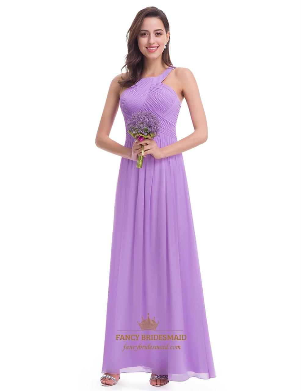 Lavender Sleeveless A-Line Ruched Bodice Chiffon Long Bridesmaid ...