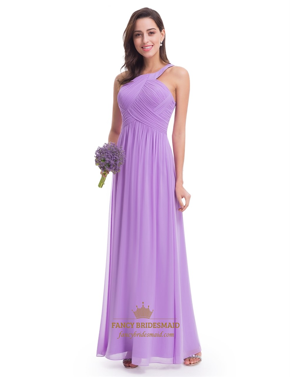 Lavender Sleeveless A Line Ruched Bodice Chiffon Long
