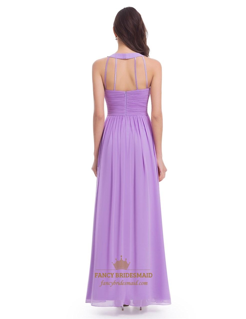 fa15bf5df7 Lavender Sleeveless A-Line Ruched Bodice Chiffon Long Bridesmaid Dress