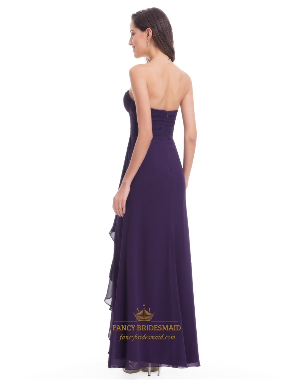 Simple Grape Strapless Sweetheart Ruched Top Chiffon ...