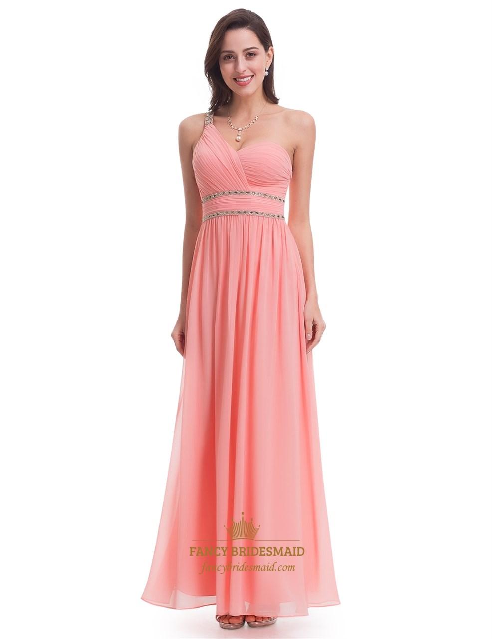 Coral One Shoulder A-Line Beaded Waist Long Chiffon Bridesmaid Dress ...