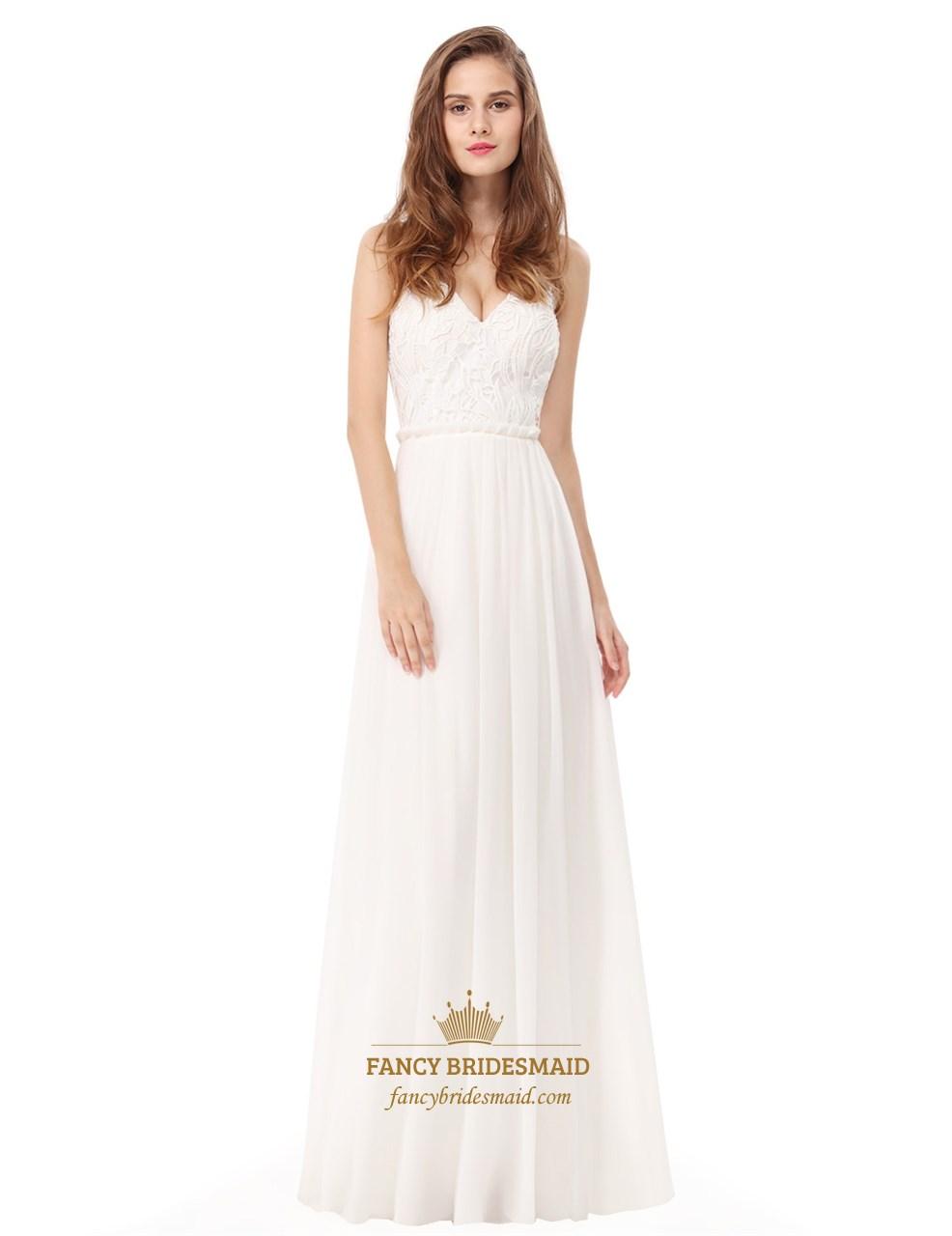 aded0ffecf0 White Backless Spaghetti Strap Lace Bodice Chiffon Bottom Prom Dress ...