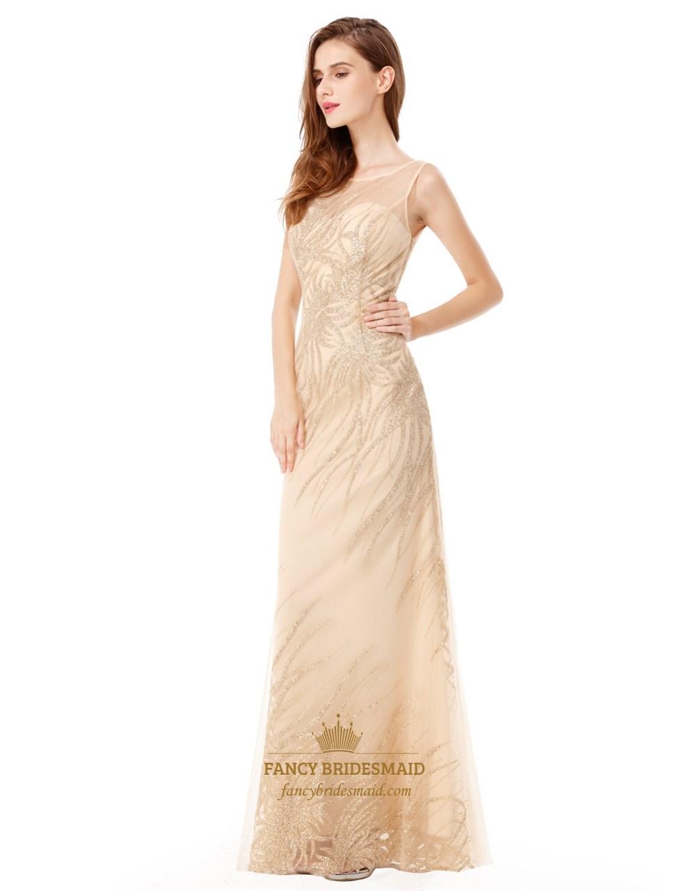 Light Champagne Sleeveless Floor Length Embellished