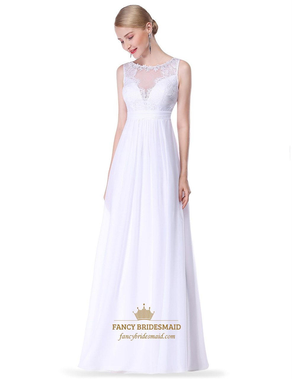 Illusion Sleeveless Empire Waist Lace Chiffon A-Line Long Prom Dress.  Product Photos. Color c7d03aa38
