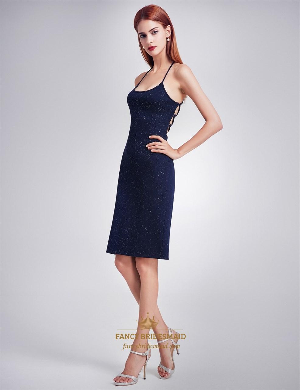 39cf787c Navy Blue Spaghetti Strap Short Sheath Dress With Crossed Open Back SKU  -FC1314