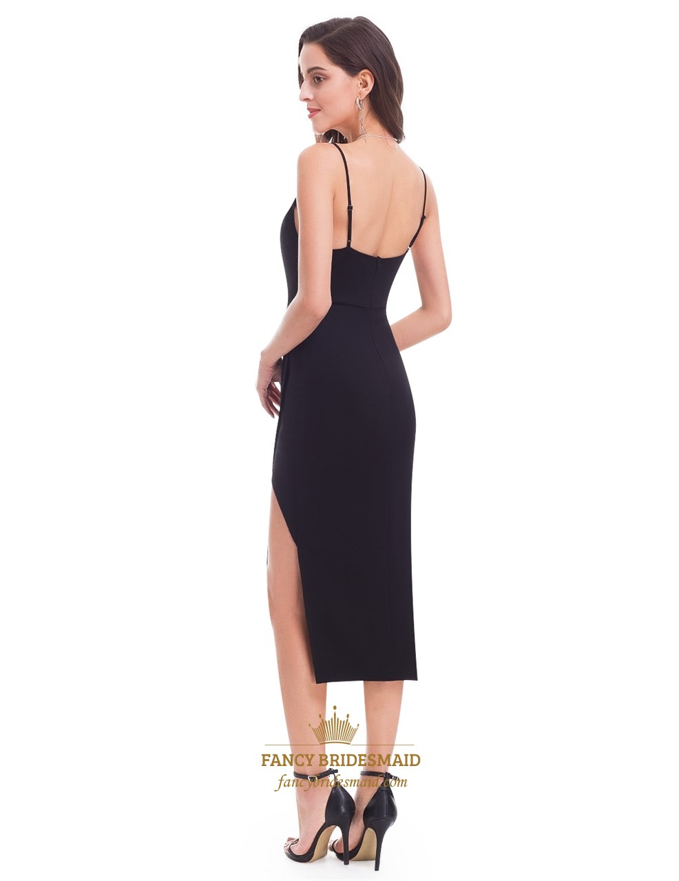 71082ebe4aa866 Simple Black Sleeveless Open Back Short Sheath Dress With Side Split ...