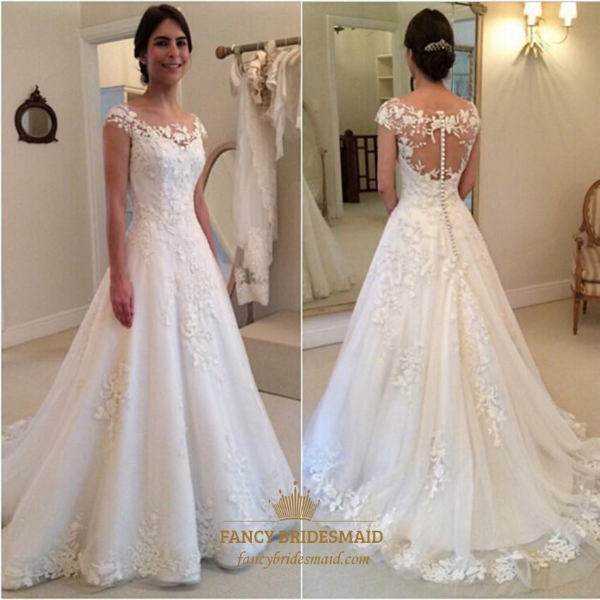 White A Line Cap Sleeve Lace Applique Wedding Dress With Illusion Back