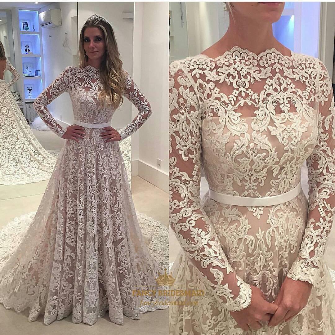 5fadf060e Elegant Illusion Lace Overlay Long Sleeve Wedding Dress With Train SKU  -FS2490