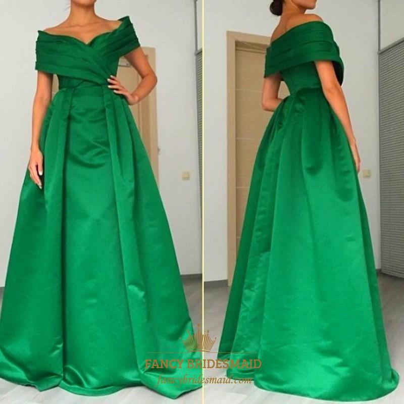 Elegant Emerald Green Off Shoulder A Line Floor Length Formal Dress