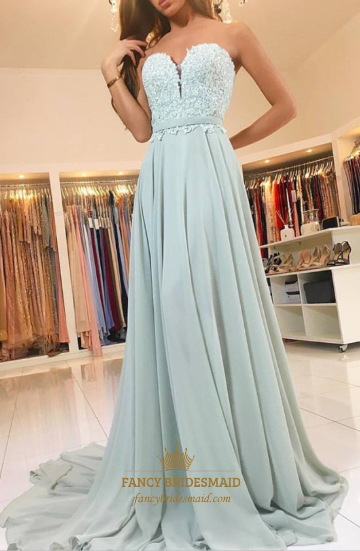 Elegant A-Line Strapless Sweetheart Lace Top Chiffon Bottom Prom ...