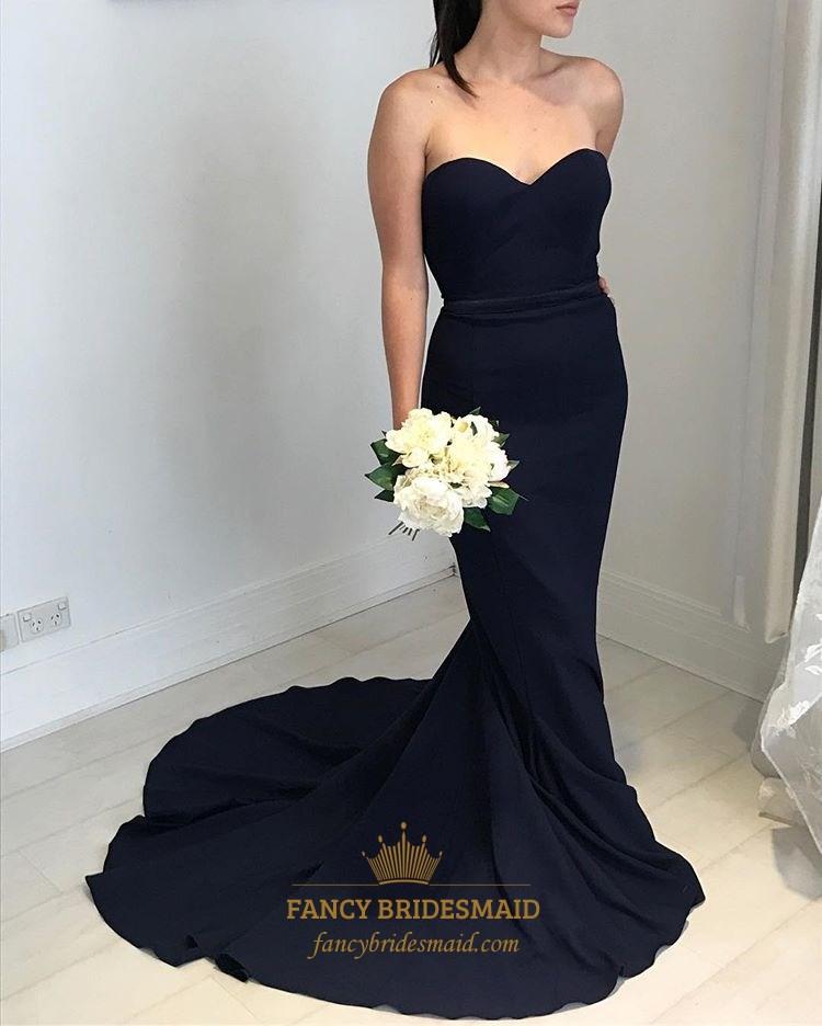 Simple Black Strapless Sweetheart Floor Length Mermaid Evening Dress ...