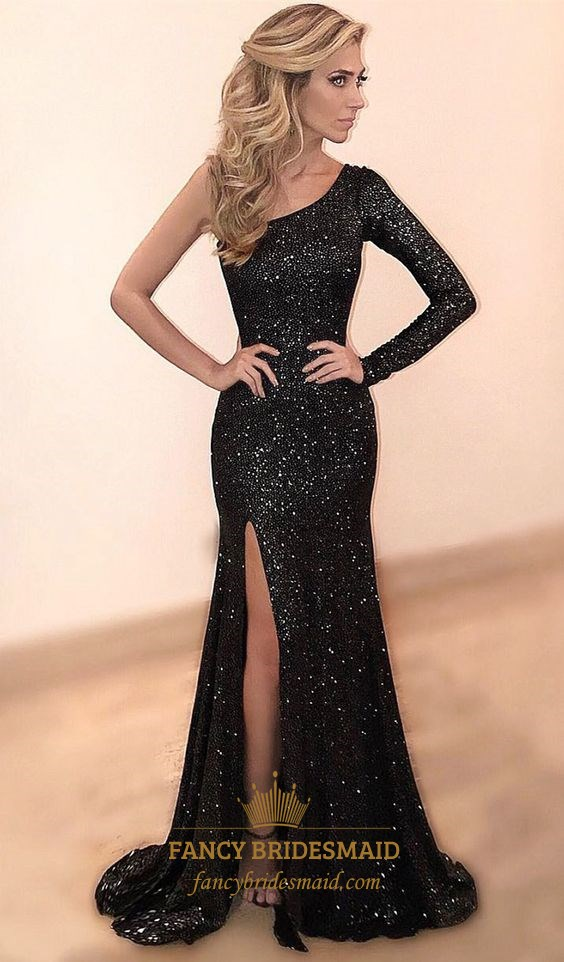 Black One Shoulder Long Sleeve Sequin Mermaid Prom Dress With Split ...