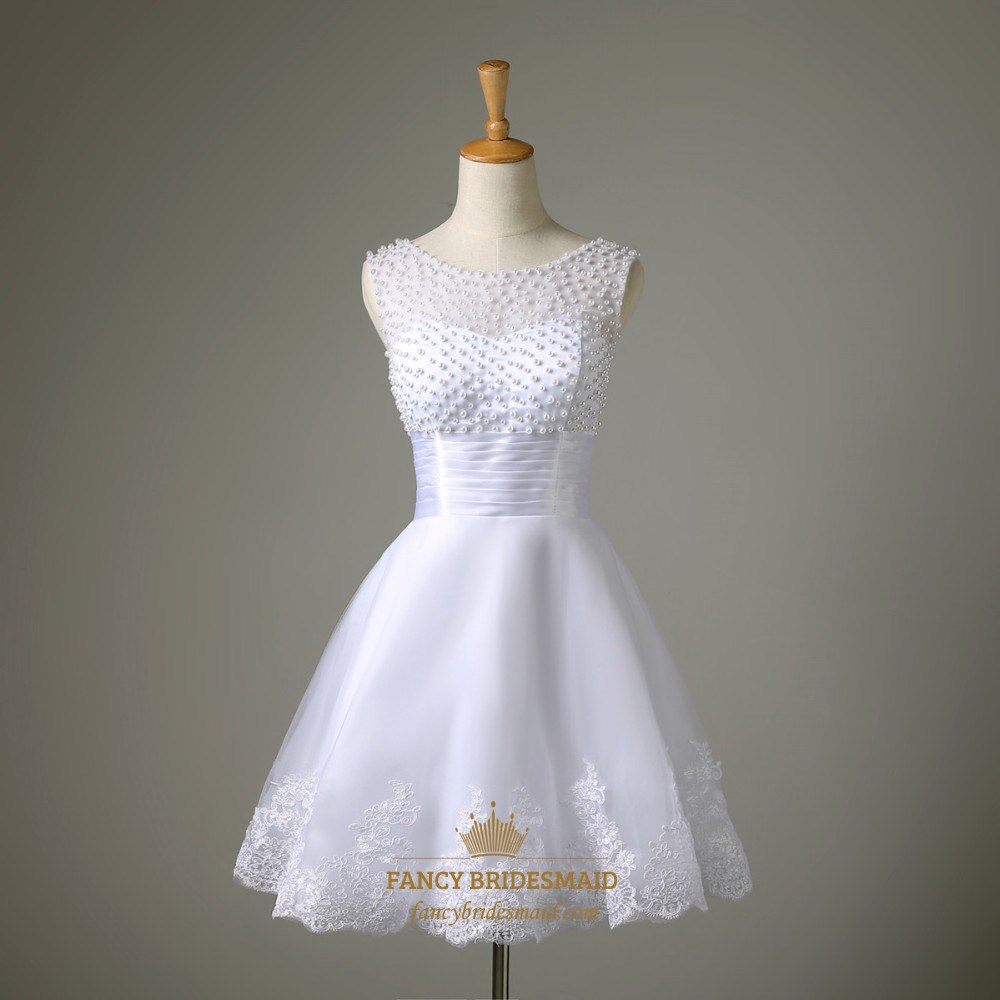 A line sleeveless short beaded neckline lace embellished for Short beaded wedding dress