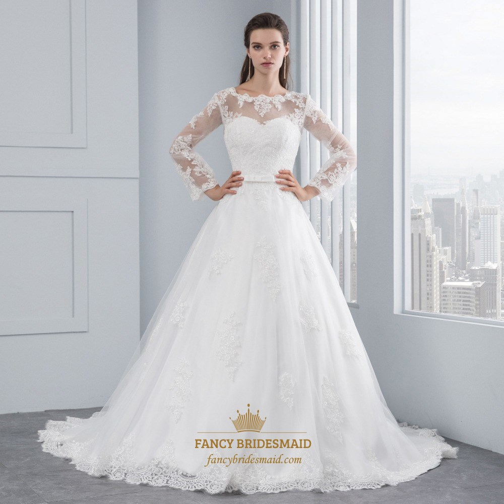Illusion Long Sleeve Lace Embellished Tulle Ball Gown Wedding Dress ...