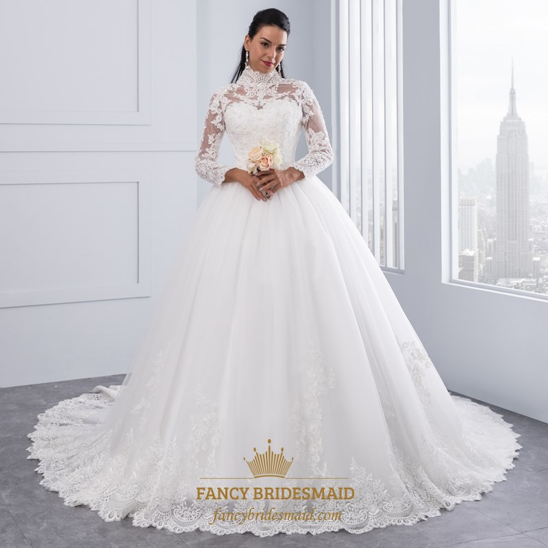 High Neck Long Sleeve Lace Embellished A Line Ball Gown Wedding Dress