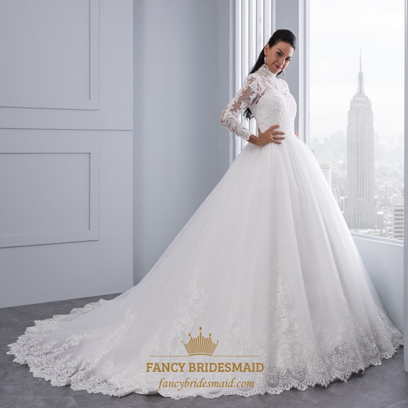 cd00c19a9e4a High-Neck Long Sleeve Lace Embellished A-Line Ball Gown Wedding Dress