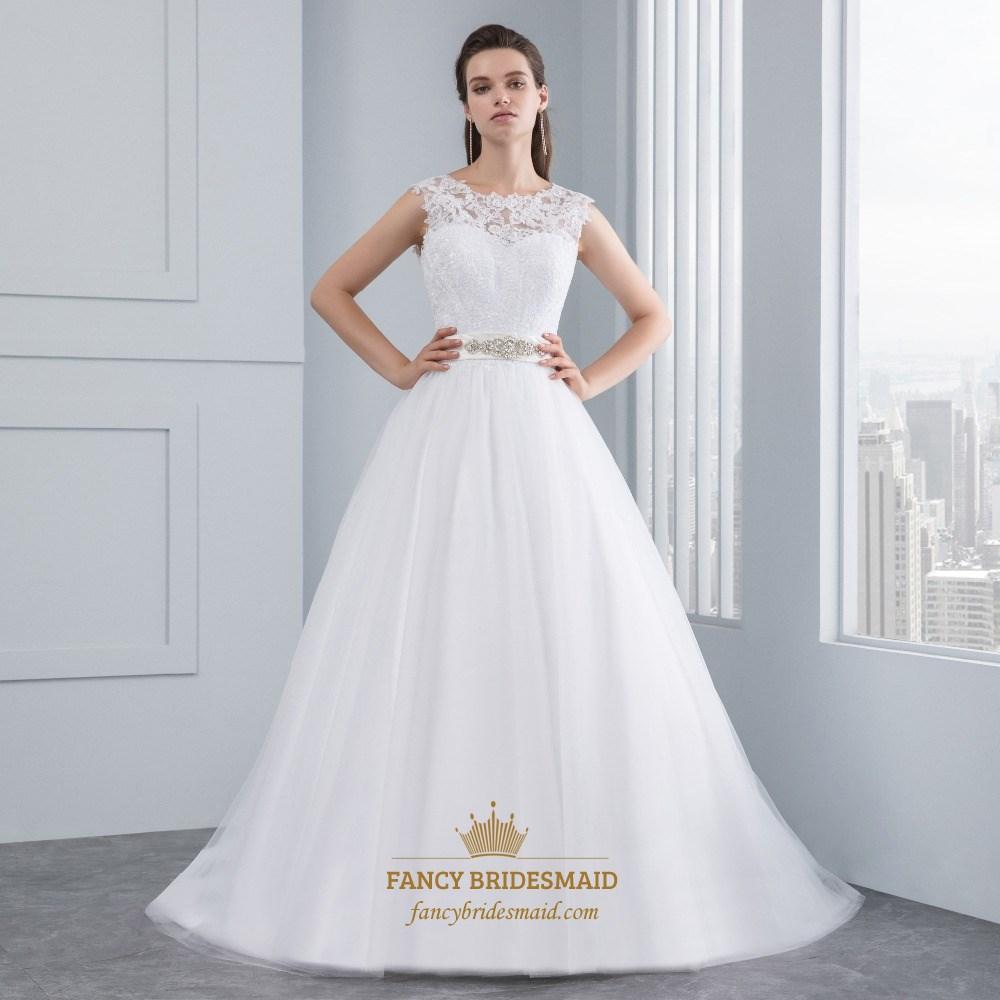 Elegant Sleeveless Lace Bodice A-Line V-Back Wedding Dress With Belt ...